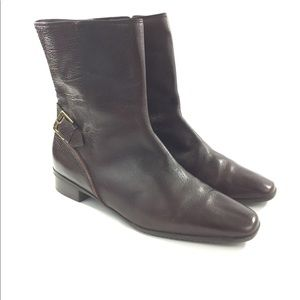 Talbots 9W Brown Leather Zip Up Ankle Boots